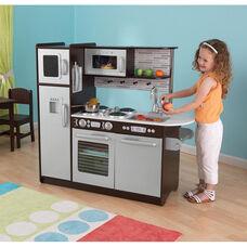 Kids Wooden Make-Believe Modern Uptown Kitchen Play Set - Espresso