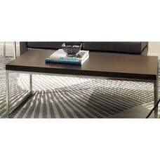 Ave Six Wall Street Wood Veneer Top Coffee Table with Chrome Finished Steel Base - Espresso