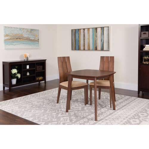 Our Barrington 3 Piece Walnut Wood Dining Table Set with Wide Slat Back Wood Dining Chairs - Padded Seats is on sale now.