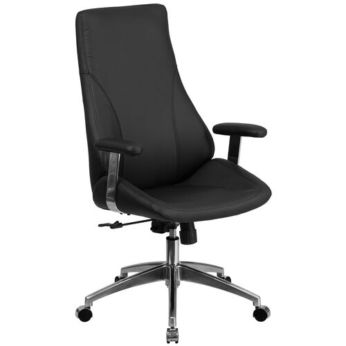 High Back LeatherSoftSoft Smooth Upholstered Executive Swivel Office Chair with Arms