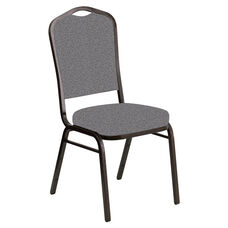 Crown Back Banquet Chair in Ribbons Fog Fabric - Gold Vein Frame
