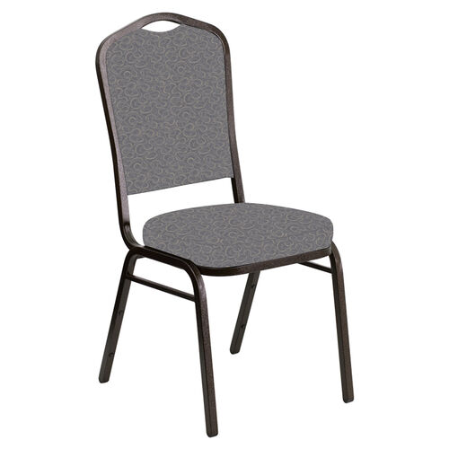 Our Crown Back Banquet Chair in Ribbons Fog Fabric - Gold Vein Frame is on sale now.