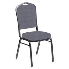 Crown Back Banquet Chair in Tahiti Gun Metal Fabric - Silver Vein Frame