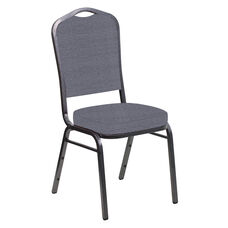 Embroidered Crown Back Banquet Chair in Tahiti Gun Metal Fabric - Silver Vein Frame