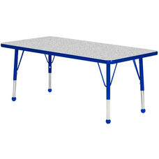 Adjustable Standard Height Laminate Top Rectangular Activity Table - Nebula Top with Blue Edge and Legs - 36