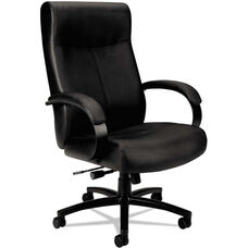Basyx® VL680 Series Big and Tall Leather High-Back Executive Chair - with Padded Loop Arms - Black