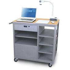 Vizion Presenter Mobile Teacher Workstation with Acrylic Door and Four Side Shelves - Kensington Maple Laminate