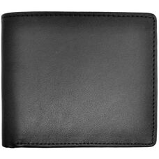 RFID Blocking Euro Commuter Wallet - Top Grain Nappa Leather - Black
