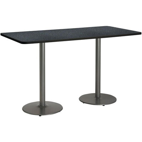 Rectangular Laminate Bistro Height Table with Silver Round Base