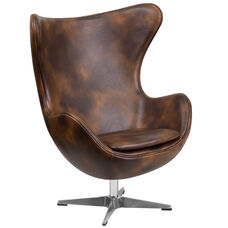 Bomber Jacket LeatherSoft Egg Chair with Tilt-Lock Mechanism