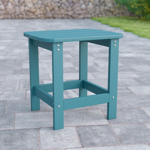 Charlestown All-Weather Poly Resin Wood Adirondack Side Table in Teal