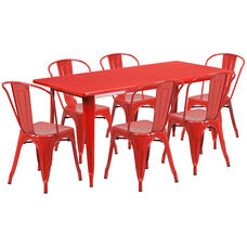 "Commercial Grade 31.5"" x 63"" Rectangular Red Metal Indoor-Outdoor Table Set with 6 Stack Chairs"