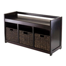 Addison 4-Pc Storage Bench with 3 Foldable Corn Husk Baskets