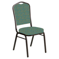 Embroidered Crown Back Banquet Chair in Circuit Turquoise Fabric - Gold Vein Frame
