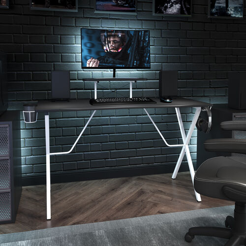 BlackArc Black Gaming Desk and White Frame with Cup Holder, Headphone Hook, and Monitor/Smartphone Stand