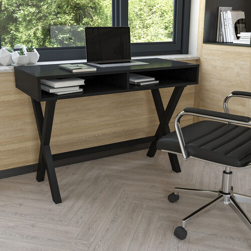 Home Office Writing Computer Desk with Open Storage Compartments - Bedroom Desk for Writing and Work, Black