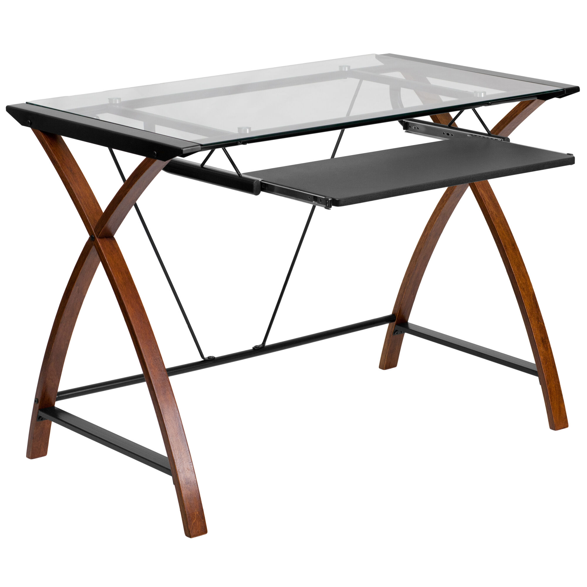 Glass Top Cherry Desk Nan Jn 2824s Gg Bizchair Com