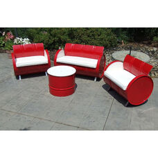 SS 396 Steel Drum 4 Piece Conversation Set with White Accents