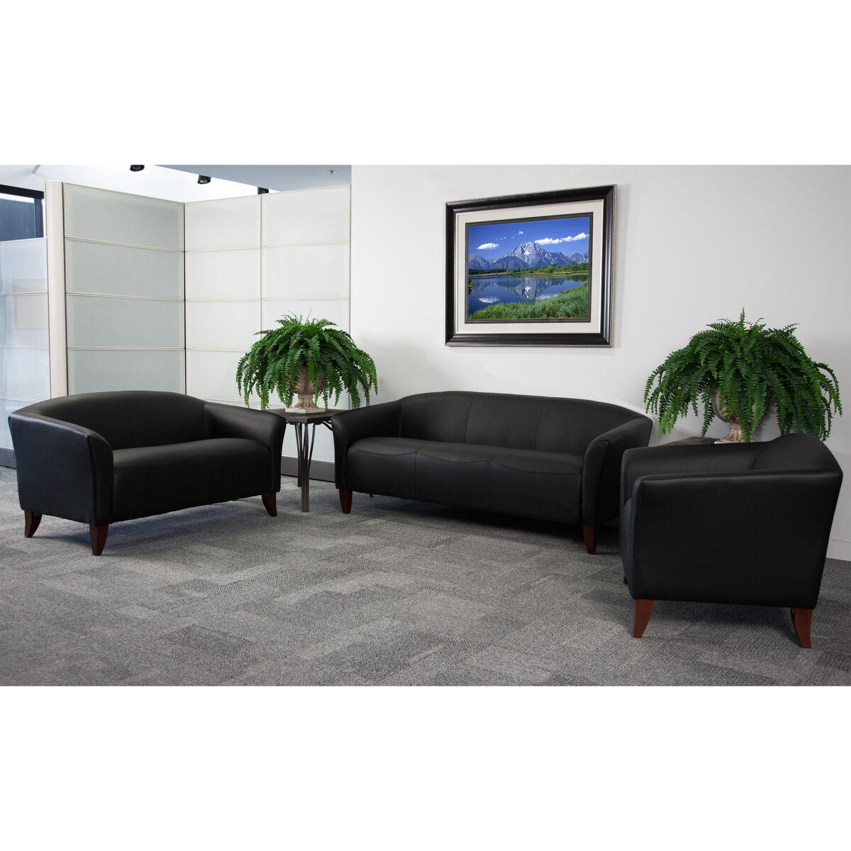 Black Leather Living Set 111 Living Set Bk Gg Bizchair Com