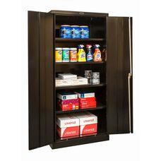 800 Series One Wide Single Tier Double Door Storage Cabinet - Assembled - Black - 36