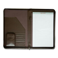 Deluxe Legal Size Zip Around Leather Portfolio - Chocolate Brown