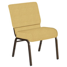 Embroidered 21''W Church Chair in Canterbury Taupe Fabric - Gold Vein Frame