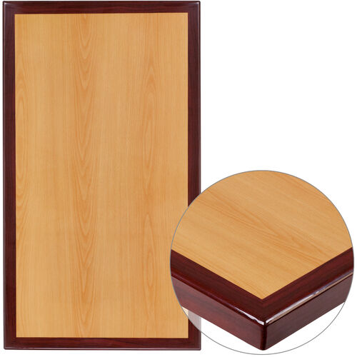 """Our 30"""" x 42"""" Rectangular 2-Tone High-Gloss Cherry Resin Table Top with 2"""" Thick Mahogany Edge is on sale now."""