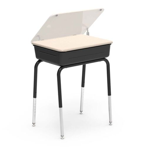 Our 751 Series Student Desk with Hard Plastic Sandstone Lift Lid Top and Black Legs and Metal Bookbox - 18