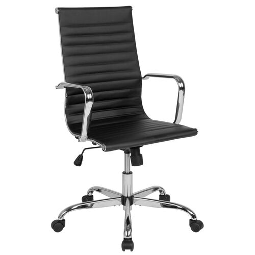 Our High Back Black LeatherSoft Mid-Century Modern Ribbed Swivel Office Chair with Spring-Tilt Control and Arms is on sale now.