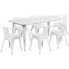 """Commercial Grade 31.5"""" x 63"""" Rectangular White Metal Indoor-Outdoor Table Set with 6 Arm Chairs"""