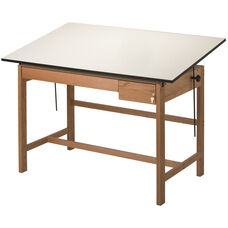 Titan II Solid Oak Drafting Table