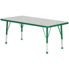 Adjustable Standard Height Laminate Top Rectangular Activity Table - Nebula Top with Dustin Green Edge and Legs - 72