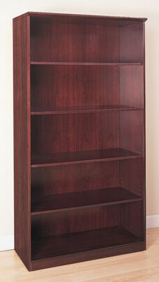 Napoli and Corsica 5 Shelf Bookcase - Mahogany on Walnut Veneer