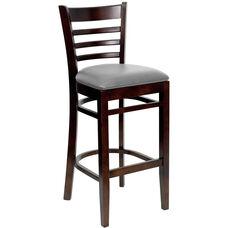 Walnut Finished Ladder Back Wooden Restaurant Barstool with Custom Upholstered Seat