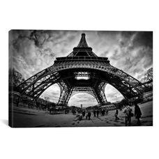 Eiffel Apocalypse B&W by Sebastien Lory Gallery Wrapped Canvas Artwork - 40