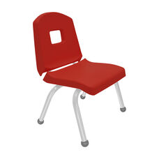 Split Bucket Stacking Chair with 12''H Seat and Ball Glides - Red - 17''W x 14''D x 24''H
