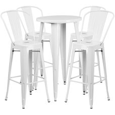 "Commercial Grade 24"" Round White Metal Indoor-Outdoor Bar Table Set with 4 Cafe Stools"