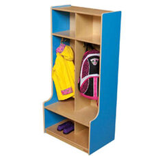 Blueberry 2-Section Offset Locker with Two Coat Hooks in Each Section - Assembled - 24