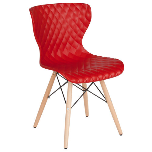 Our Bedford Contemporary Design Red Plastic Chair with Wooden Legs is on sale now.
