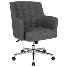 Laone Home and Office Upholstered Mid-Back Chair in Dark Gray Fabric