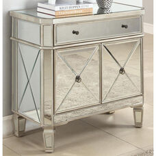 Mirrored One Drawer and Two Door Console - Silver