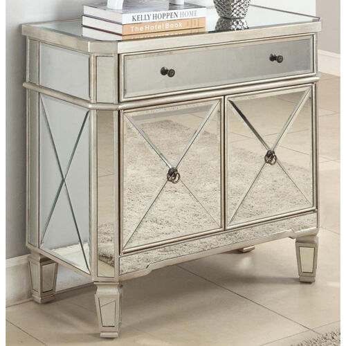 Our Mirrored One Drawer and Two Door Console - Silver is on sale now.