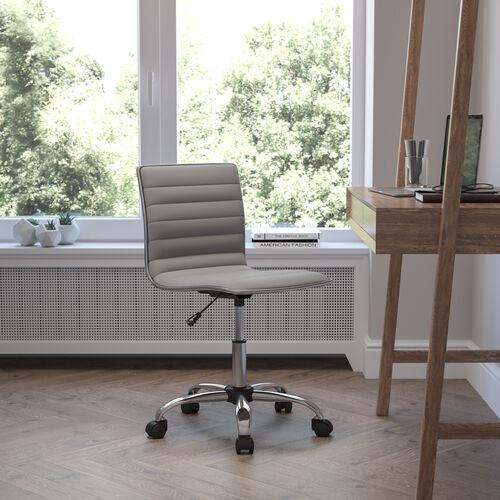 Low Back Designer Armless Light Gray Ribbed Swivel Task Office Chair