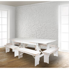 "HERCULES Series 8' x 40"" Antique Rustic White Folding Farm Table and Six Bench Set"