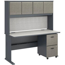 Series A Collection 60'' W x 27'' D Desk with Hutch and Two Drawer Mobile Pedestal - Slate White Spectrum