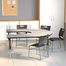 60''W x 66''L Horseshoe Grey Thermal Laminate Activity Table - Standard Height Adjustable Legs