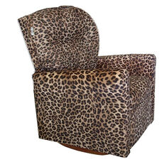 Kids Upholstered Contemporary Rocker Recliner with Tufted Back - Cheetah