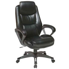 Work Smart Executive Eco Leather Chair with Padded Arms and Titanium Coated Base - Black