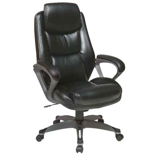 Our Work Smart Executive Eco Leather Chair with Padded Arms and Titanium Coated Base - Black is on sale now.