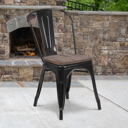 Metal Stackable Chair with Wood Seat